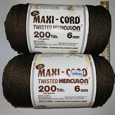 2 Vintage Herculon Maxi-cord Twisted Herculon 200 Yard Skein Yarn Brown 6Mm
