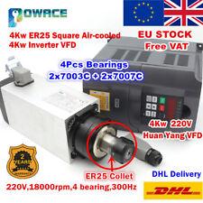 【EU】Square 4KW ER25 Air cooled Spindle Motor+4KW HY VFD Inverter Engrave Milling