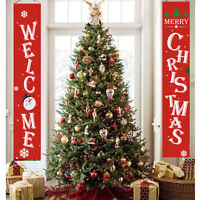 Merry Christmas Banner Wall Hanging Door Curtain Home Party Xmas Decor 180cm