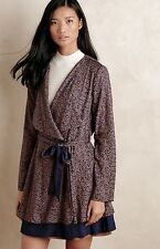 NEW Anthropologie Harlyn blue brown Printed Swingy Belted Trench Coat Dress M