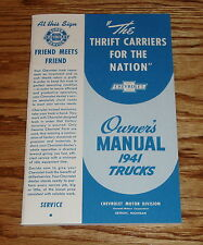 1941 Chevrolet Truck Owners Operators Manual 41 Chevy