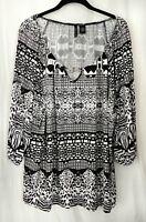 Black & White NEW DIMENSIONS 2X 3X *Multiple Animal Print* Stretch Dressy Blouse