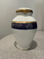 Limoges Porcelain Urn featuring a blue band with hand painted gold leaf motif