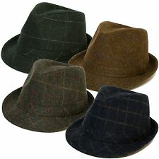 Checked Design Wool Felt Trilby Hat