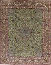 NEW GREEN BROWN Floral Kashmar Area Rug Hand-Knotted Living Room Kork Wool 10x12