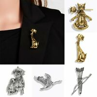 Lovely Animals Brooch Pins Women Retro Dog Cat Lapel Suit Scarf Collar Jewelry