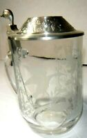 Wild Duck Tankard w/ Pewter Lid Glass Handle * Steins Mallard Drink Field France