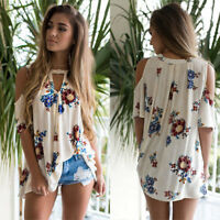 Womens Floral V Neck Print Loose Beach Ladies Casual T Shirt Tops Blouse Top New