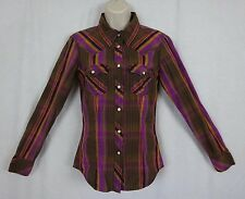 True Religion Ladies Western Pearl Snap Shirt ~ Brown & Purple Striped ~ Small