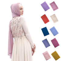 Muslim Women Chiffon Long Scarf Hijab Islamic Headscarf Head Wrap Cover Shawl