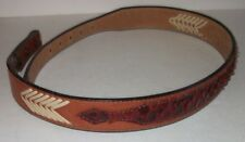 The Belt Company Leather Belt 28 Brown Scaled Laced No Buckle Metal Tip