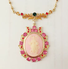 New Angel Vintage Style Cameo Pink Luxury Floral Oval Charm Chain Necklace N1325