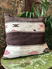More details for vintage kilim covered feather filled cushion turkish/moroccan/afghan (no.20)