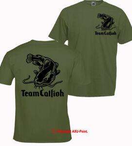 Team Catfish T-shirt black cat monster fishing big carp crew pike Xmas gift 2s