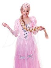 Panto Principessa delle Fiabe Lunghe Trecce Intrecciato PARRUCCA BIONDA Raperonzolo Costume