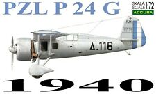 PZL P 24 G - WW II FIGHTER (GREEK A.F. 1940 MARKINGS) 1/72 ACCURA RESIN