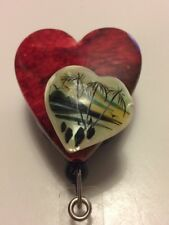 3D Beach Scene Red Black Heart Stone RN Retractable ID Reel Badge Holder Clip