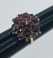 Garnet Cluster Ring Size 5.5 Vintage 14k Yellow Gold & Red