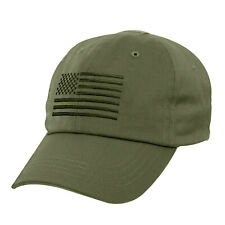 Olive Drab tactical Operator Military Contractor Hat with Embroidered USA Flag