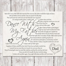 Dance With My Father A4 PRINT Song Lyrics Gift Memorial