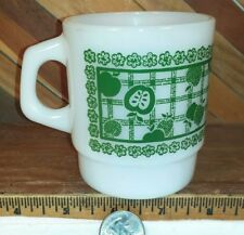 Anchor Hocking Fire King Milk Glass Stacking Mug w/ Green Apple Design USA Made