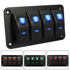 Rocker Switch Panel Circuit Breaker 4 Gang LED Car RV Marine Boat ABS 12V 24V