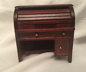 Vintage Dollhouse Furniture Roll-Top Desk Wooden 1/12 Unbranded Nice