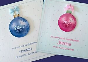Personalised Baby / Children's FIRST CHRISTMAS card. With Name / Pink or Blue