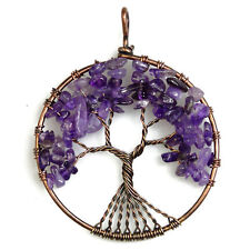 Natural Amethyst Chip Beads Tree of Life Copper Round Pendant Fit Necklace DIY