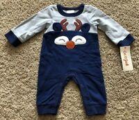 NWT Boys Blue Long Sleeve Cat & Jack Reindeer Romper 3-6 Months