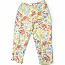 Papell Petites 14P Linen Rayon Floral Pattern Pants w Red Bead Embellishments 14