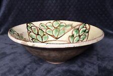 19th Century Antique Swat Valley Pakistan Slip Glaze Pottery Redware Bowl