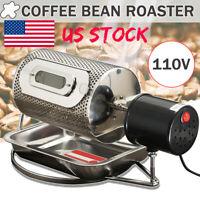 US 110V Stainless Steel Coffee Bean Roasting Machine Coffee Roaster Roller Baker
