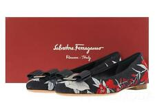 NEW SALVATORE FERRAGAMO VARINA JEA DENIM FLORAL LOGO BOW BALLET FLAT SHOES 6 C