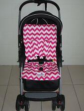 FUNKY BABYZ-Pink Chevron reversible universal pram/car seat liner,belt covers.