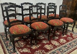 "8 Antique Style Carved Country French Upholstered Dining Chairs 39"" Louis XV"