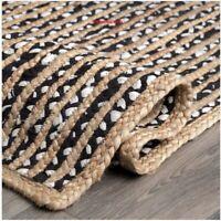 Rug 100% Jute Cotton Reversible Rustic look Braided style Area Runner Rug Carpet