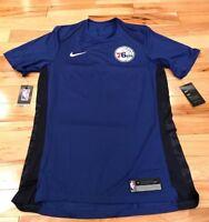Nike Philadelphia 76ers Blue Red Dri-Fit Shooting Shirt 877455 495 Men's MEDIUM