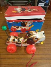 Vintage fisher price pull along dog in original box