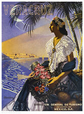 VINTAGE MEXICAN ART PRINT Veracruz, Senora with Flowers 24x18 Mexico Poster