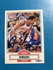 James Edwards Signed 90/91 Fleer Detroit Pistons Card # 56