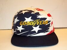 Vintage 80 s GOODYEAR Tire White Red Blue Splash Snapback USA Hat ... 086de0c223e5