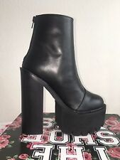 Jeffrey Campbell Mulder black leather platform boots women's size 7