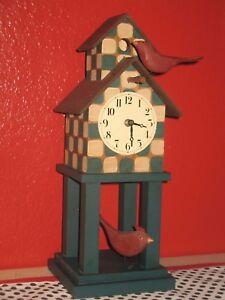 Vintage Clock Folk Art Farmhouse Mantle - Desk Clock - Mackenzie Childs Style