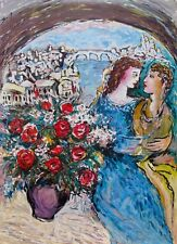 Zamy Steynovitz COUPLE WITH BOUQUET Hand Signed Limited Edition Serigraph Art