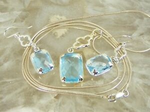 """18 tcw Cushion Blue CZ Topaz Sterling Silver Necklace Earring Set 30"""" Chain"""