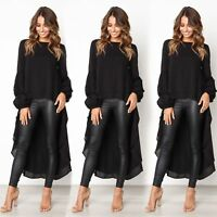 Womens Long Sleeve Irregular Dress Ladies Casual Party Mini Dress Tops Ruffle