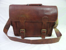 Office Leather Briefcase Messenger Bag 18 In Laptop Satchel College Shoulder Bag
