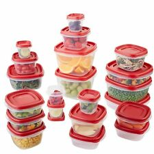 NEW RUBBERMAID EASY FIND LIDS FOOD STORAGE CONTAINER 42 PIECE SET RED 1880801