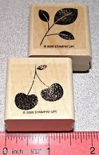 Cherries Stem Leaves Rubber Stamp Single Fruit Stampin Up All through the Year